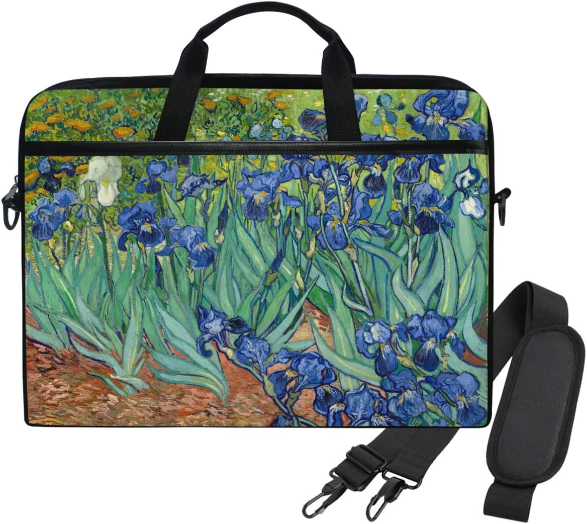 WIHVE Laptop Shoulder Bag Van Gogh Irises 14 13inch Laptop Case for Women Men