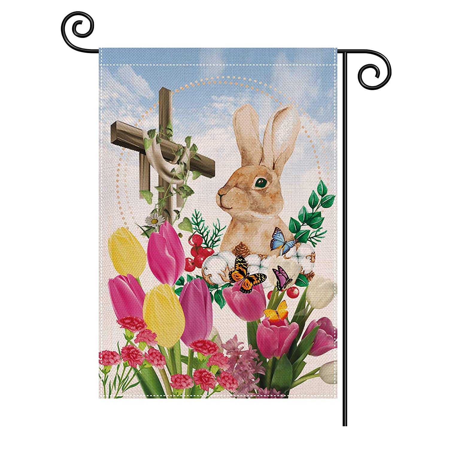 Splonary Easter Garden Flags, Vertical Double Sided 12 x 18 Retro Easter Burlap Waterproof Anti-UV Yard Flags for Spring Summer Outdoor Farmhouse Yard Home Decorations