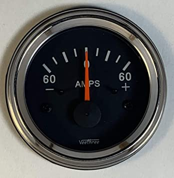 Veethree Ammeter 100 Amp Black Bezel//Black dial