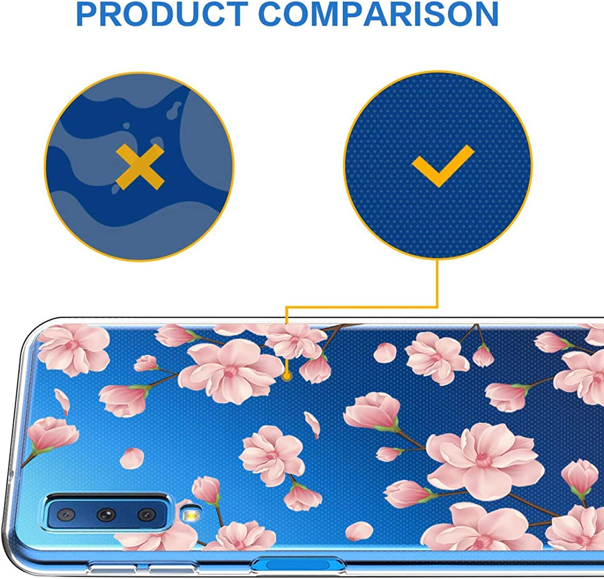 Galaxy A9 2018 Case Clear Soft TPU Silicone Shock Absorption Slim Embossed Floral Protective Back Cover for Galaxy A7 2018