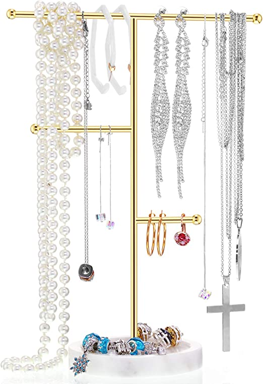 Amazon Com Earrings Holder T Bar Necklace Hanging Jewelry Organizer Stand Display Pendant Rack For Jewelry Hanging Supplies Golden With Marble Base Style B Home Kitchen