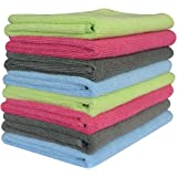 "Sinland Car Wash Microfiber Towel Auto Detailing Cleaning Cloths 320gsm (Pack of 8 Pieces) 4 Colors (14 "" X 14 "", 2 Grey+2 Deep Pink+2 Light Blue+2 Light Green)"