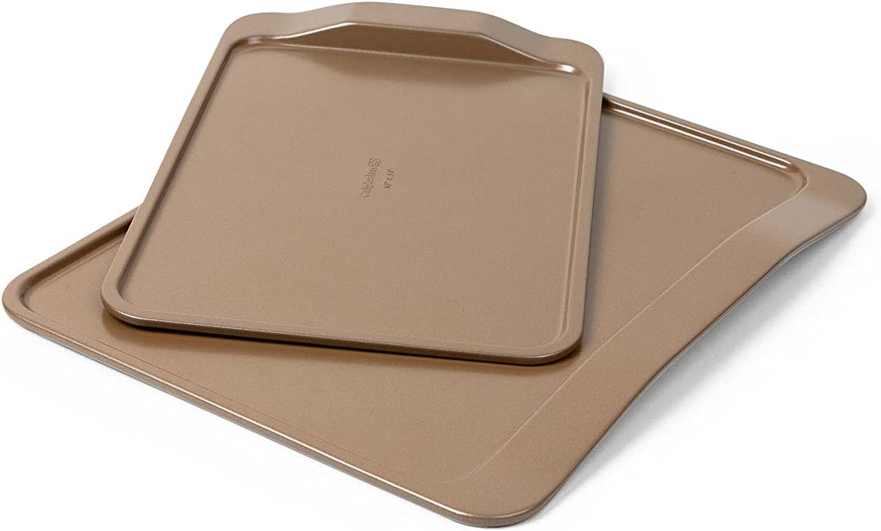 Calphalon 2 Piece Nonstick Bakeware Cookie Sheet Set, Toffee
