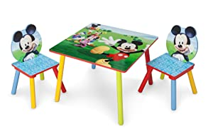 Delta Children Kids Table and Chair Set (2 Chairs Included), Disney Mickey Mouse