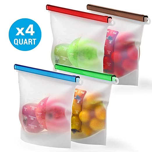 Reusable Silicone Food Storage Bag Set Kiva.World - 4 QUART Reusable Produce Sandwich Bags - Freezer Bags with Airtight Seal - Hermetic Food Bag - ...