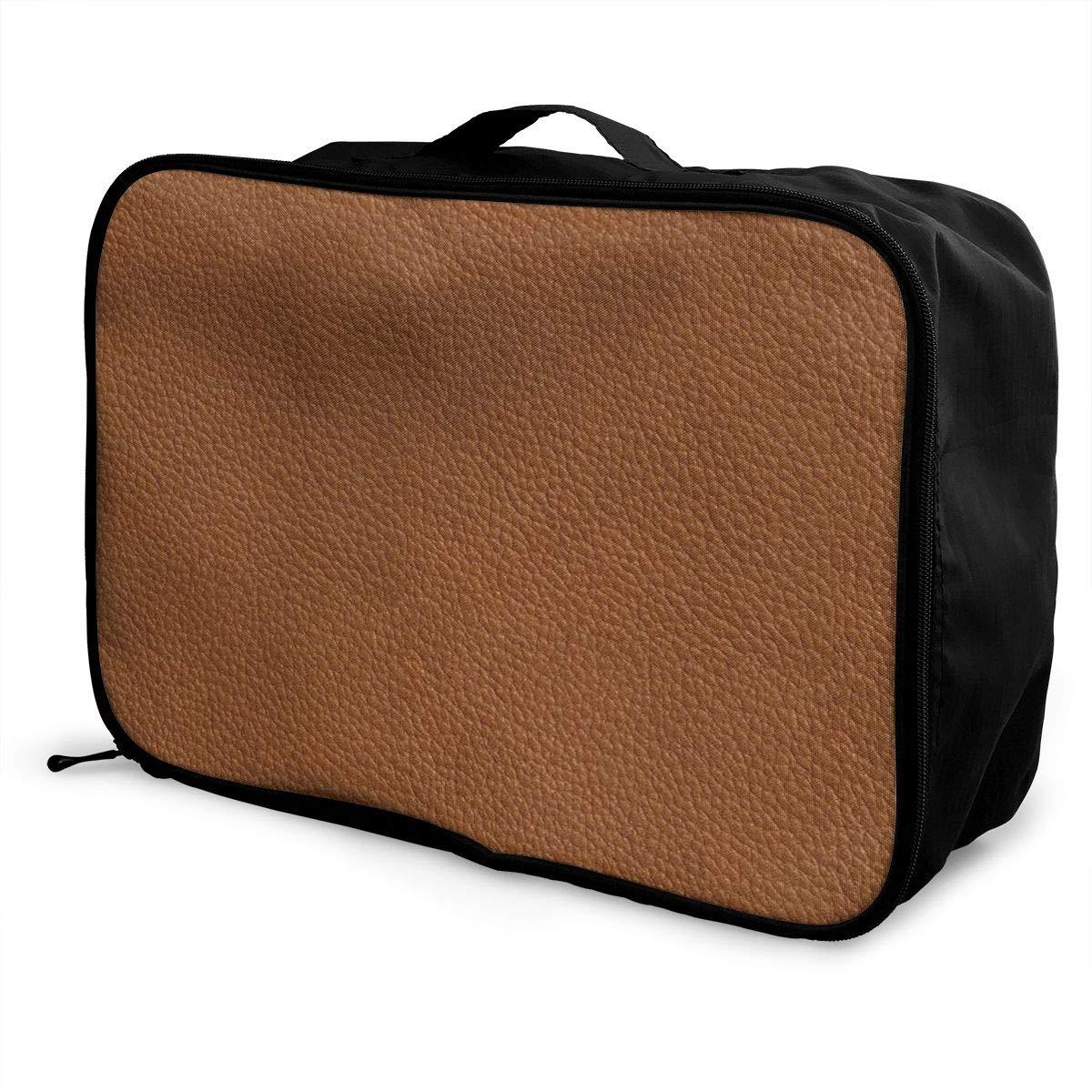 Travel Luggage Duffle Bag Lightweight Portable Handbag Brown Leather Pattern Print Large Capacity Waterproof Foldable Storage Tote