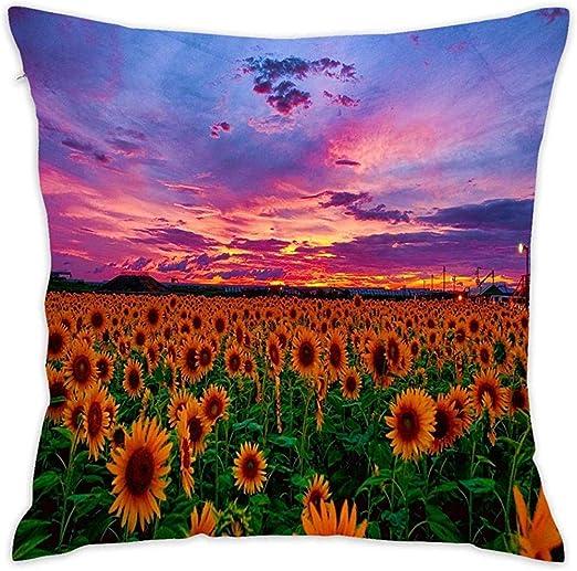 DayToy Girasol con Purple Sunset Algodón Decorativo Funda de ...