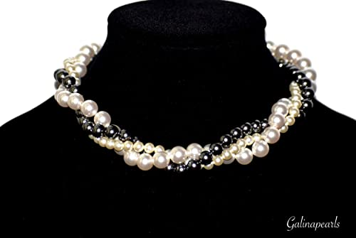 Amazon Com Handmade Women Necklace Swarovski Crystal Pearl