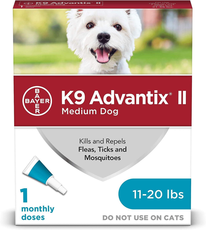 Bayer K9 Advantix II Flea, Tick & Mosquito Prevention for Medium Dogs, 11-20 lbs