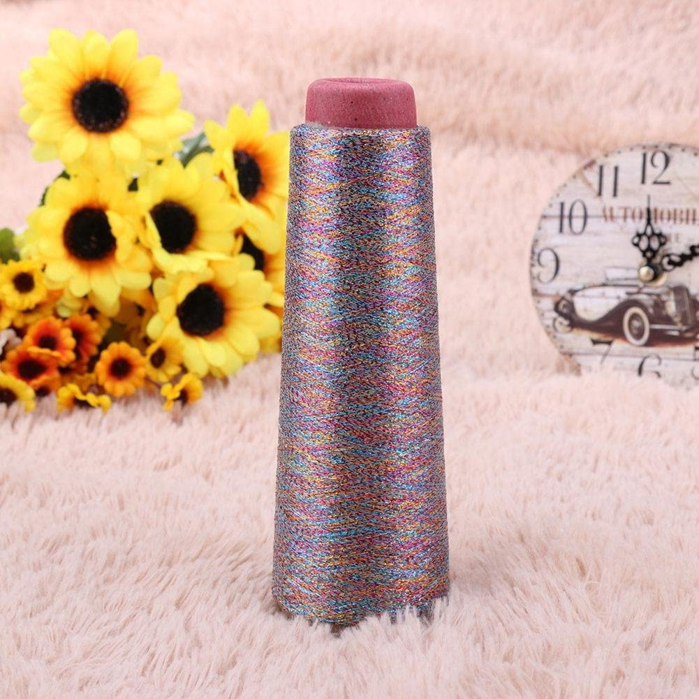 Colorful Whitelotous Glitter Thread Metallic Polyester Silk Sparkle Thread Cross Stitch Yarn Sewing Thread Woven Embroidery Textile Sweater Knitting Accessories