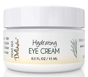 Eye Cream Moisturizer, Skin Care for Under Eye with Organic Aloe Vera, Organic Coconut Oil, Vitamin E, Dead Sea Salt, Rosehip Seed Oil for Dry Skin and Wrinkles. Hydrating Eye Cream by Deluvia