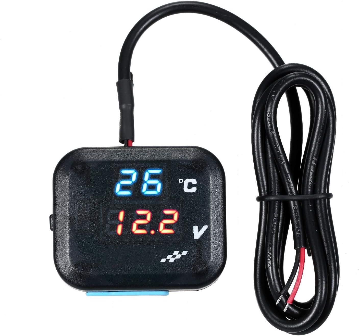 ROSEBEAR Misuratore di Temperatura Voltmetro Batteria Digitale per Auto Moto per Veicoli 12V