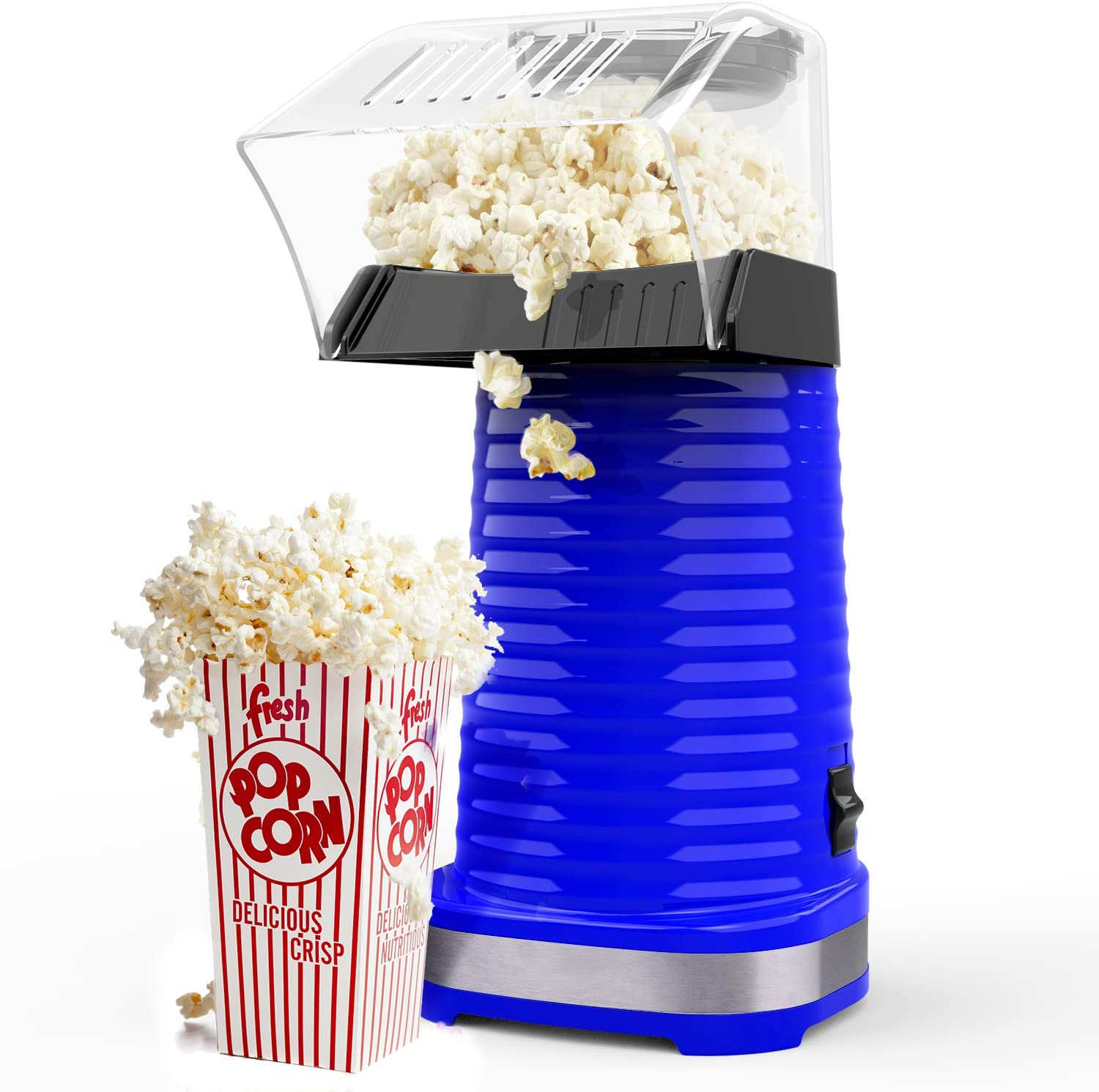 Hot Air Popcorn Poppers for Home, 1200W Popcorn Maker Machine for Healthy Snack, No Oil Needed, Great for Kids, Blue