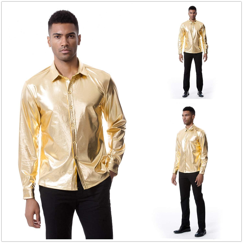 VOLINER Mens Metallic Shirt Nightclub Long Sleeves Button Down Dress Shirt