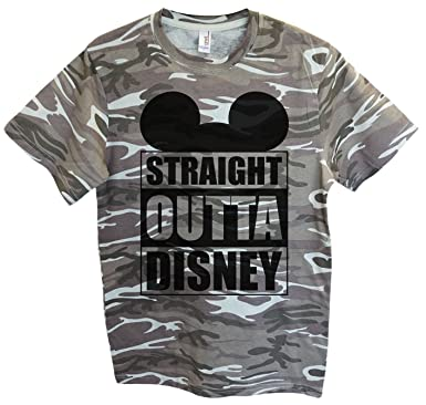 "0cd927e0a09fd Amazon.com: Funny Mens Mickey Mouse T-Shirt ""Straight Outta Disney ..."