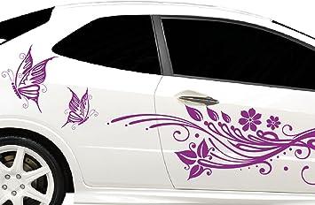 Dd Dotzler Design Tuning Autoaufkleber V2 Seite Links Rechts Blumen Schmetterlinge Schnörkel 2 Stück Auf Bogen A 162 X 46cm Auto