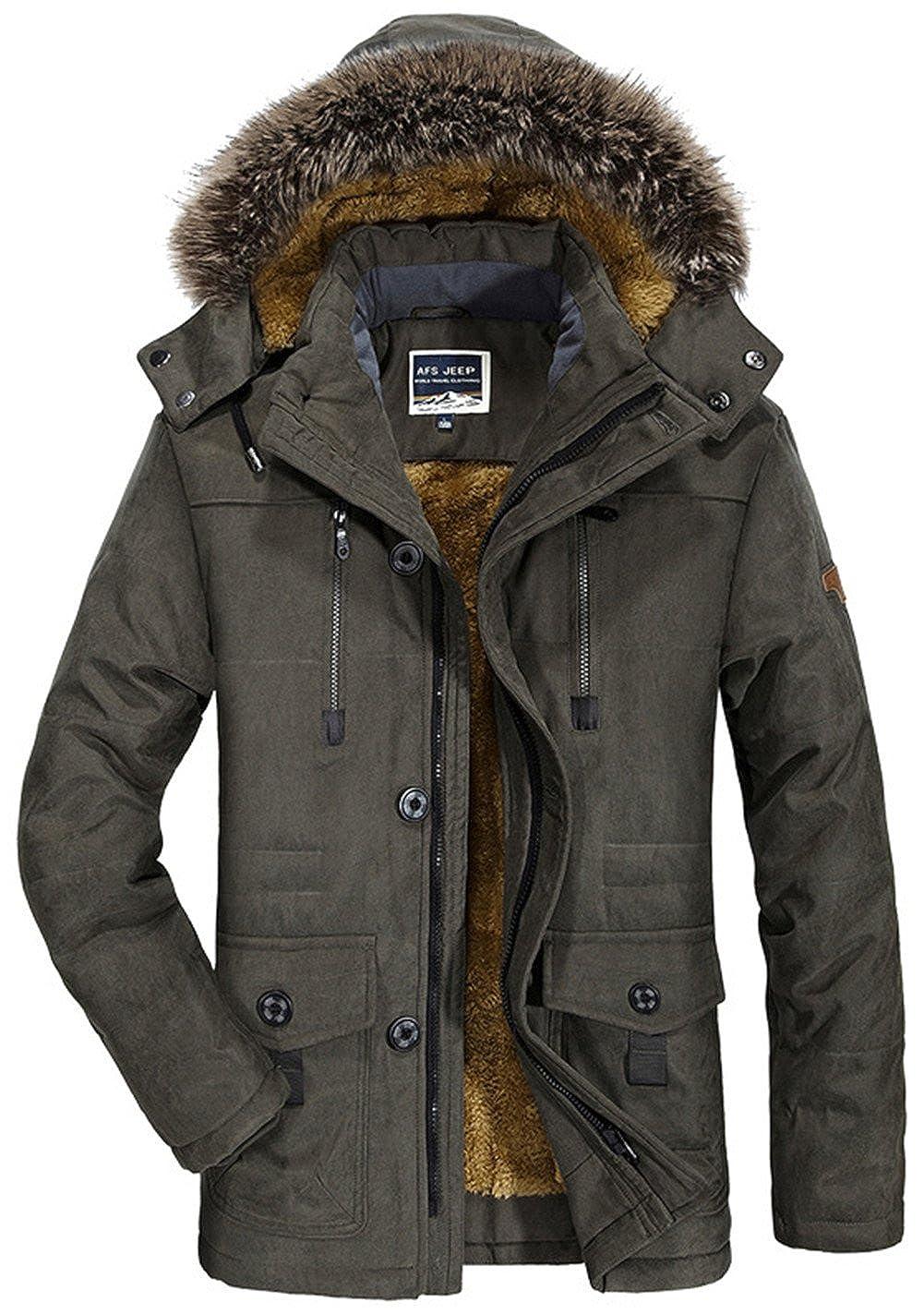 moxishop Hommes Winter Épaissé Warm Military Rembourré Coat Down Jacket Vêtements à Capuche en Fourrure Cotton Parka (Capot Amovible) XS-4XL F7176-kaki