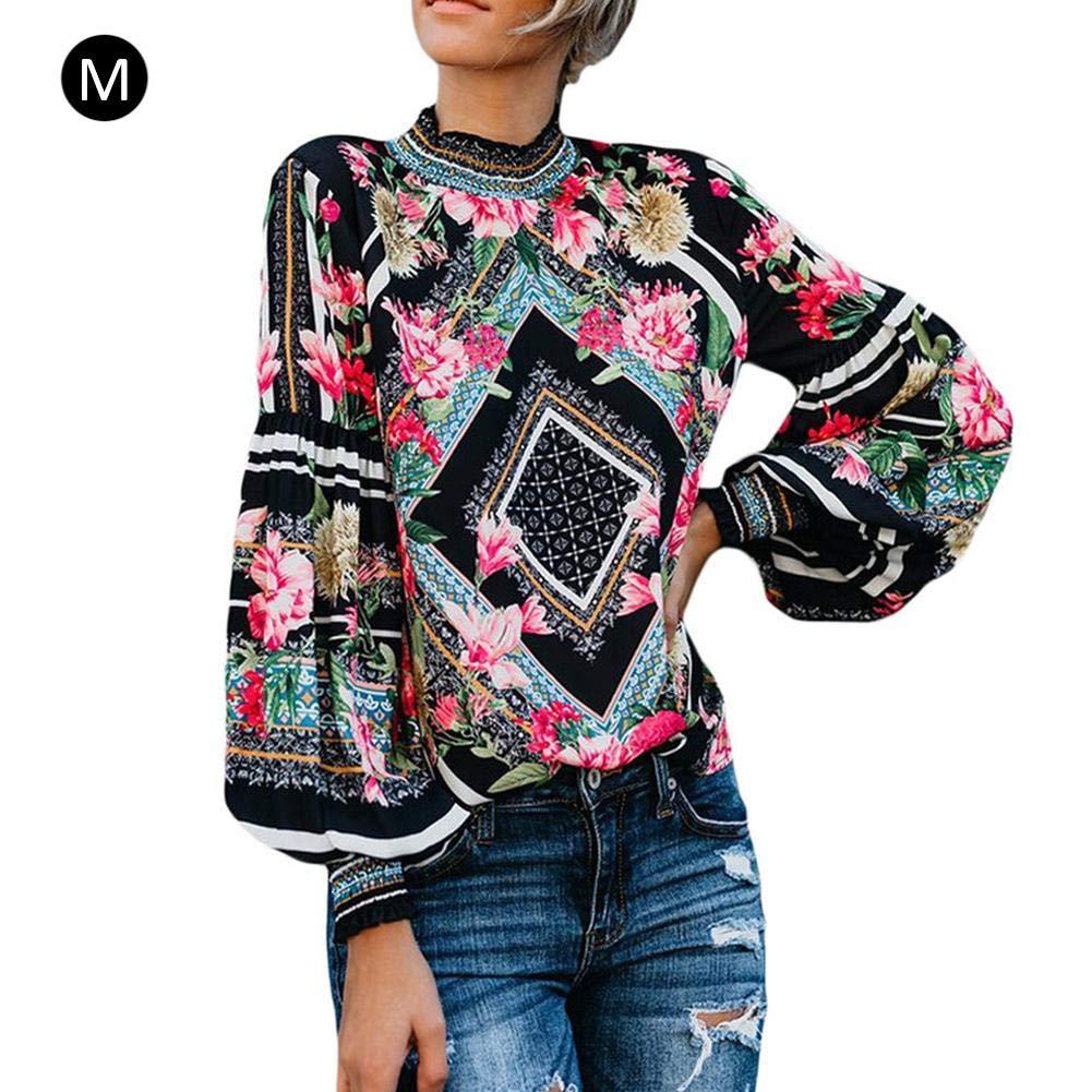 Snowshow Printed Chiffon Shirt Long Sleeve Chiffon Blouse Womens Loose Cuffed Sleeve Layered Tops Fashion for Women Girl