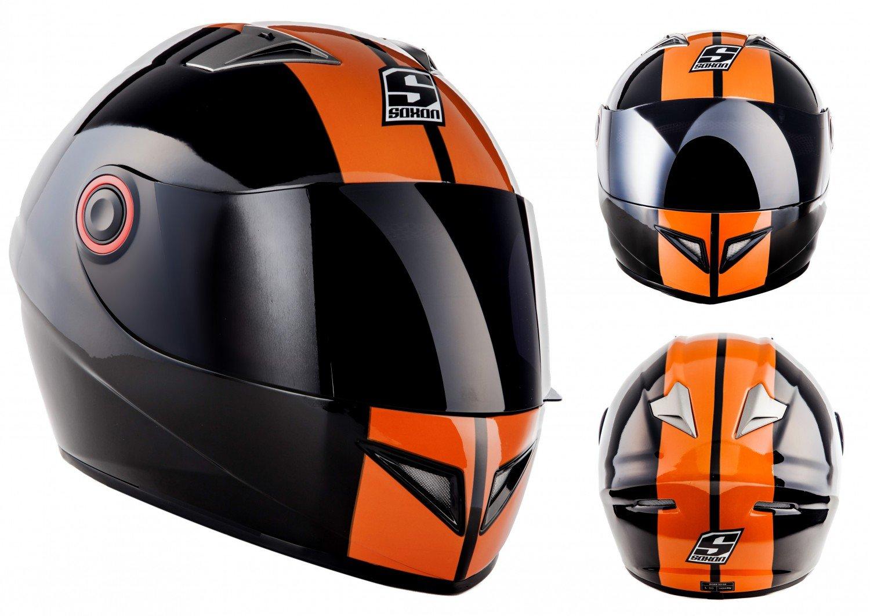 57-58cm SOXON ST-666 Deluxe Snow /· Cruiser Urban Casco Integrale Fullface-Helmet Sport Moto motocicleta Scooter Urbano /· ECE certificado /· incluyendo parasol /· incluyendo bolsa de casco /· Negro /· M