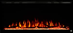 Touchstone 80042 - Sideline Elite Electric Fireplace - 42 Inch Wide - in Wall Recessed - 60 Color Combinations - 1500/750 Watt Heater (68-88°F Thermostat) - Black - Log, Crystals, and Driftwood