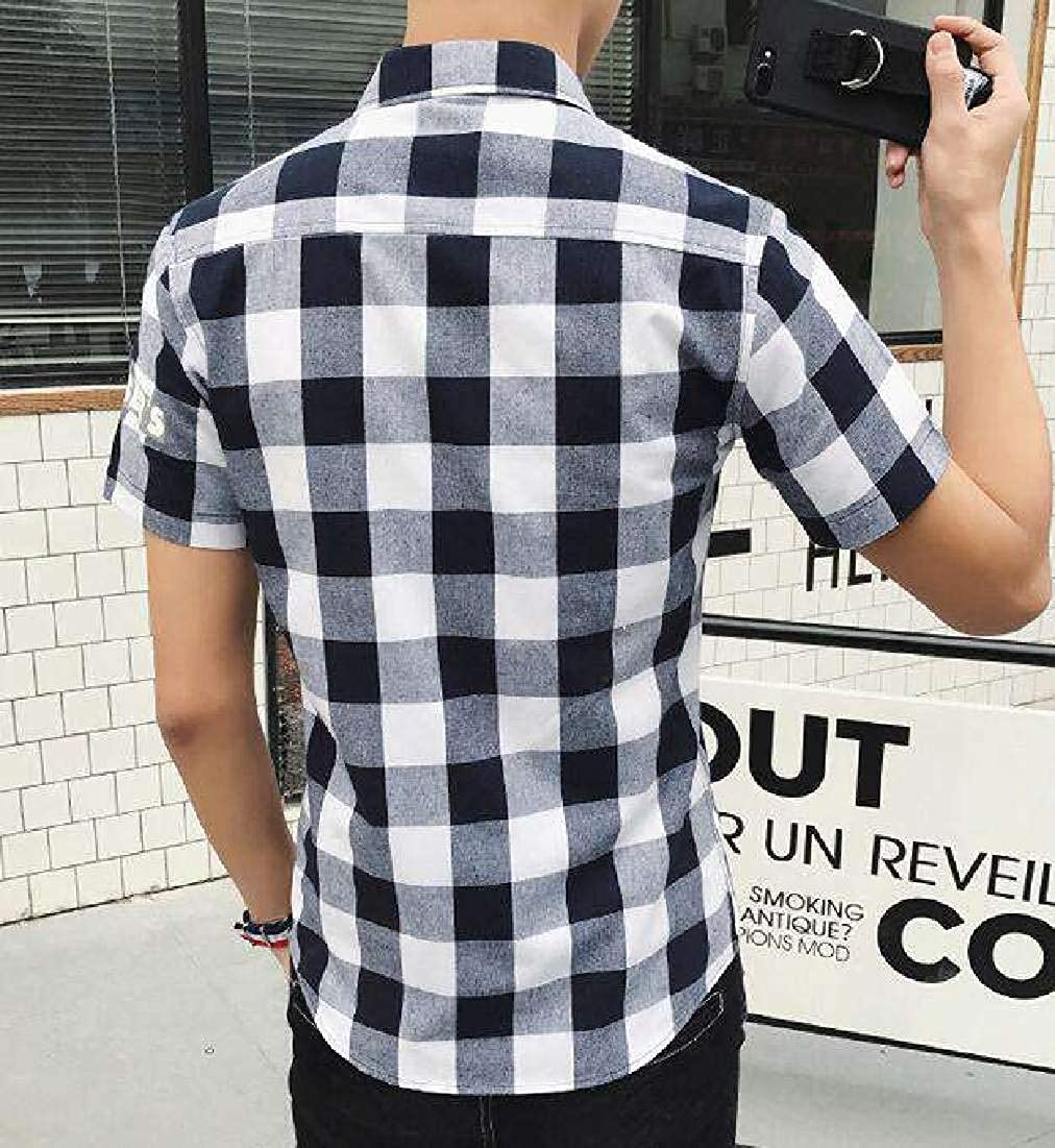 Fubotevic Mens Short Sleeve Big /& Tall Letter Print Plaid Slim Fit Button Up Shirt
