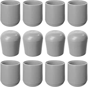 Folding Chair Leg Caps Gray 7/8 Inch (12 Pack) - Heavy Duty Nylon Chair End Caps, Non-Marring Round Hardwood Floor Protectors, Compatible Replacement Plugs for Metal and Padded Folding Chairs Tips