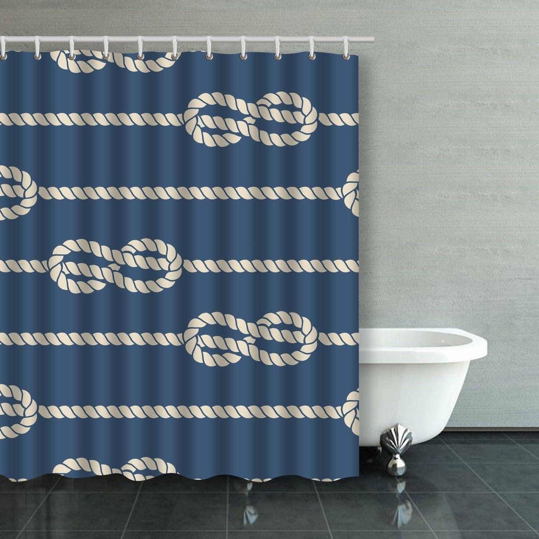 Cortina de ducha impermeable con cuerdas náuticas con nudos ...