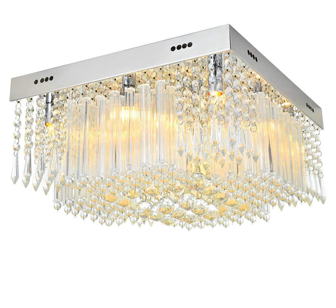 Modern clear k9 crystal square raindrop chandelier lighting flush mount led ceiling light fixture lamp for dining room bathroom bedroom livingroom 12