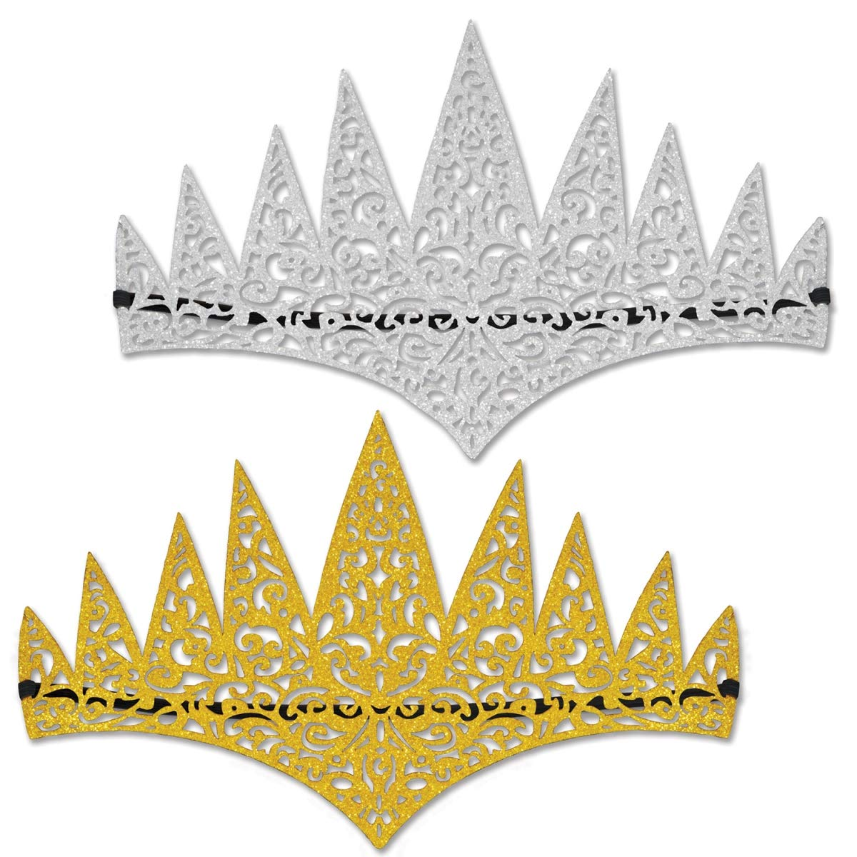 Beistle 60665 Glittered Laser Cut Tiaras - Pack of 12