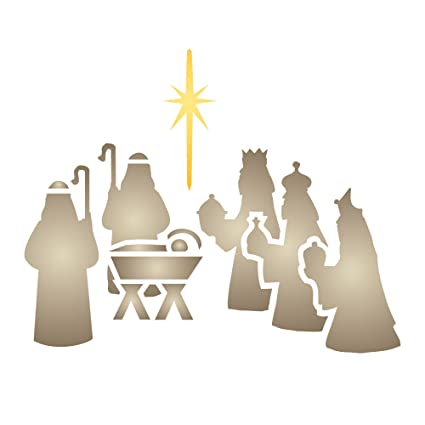 amazon com christmas nativity stencil size 5 w x 6 h reusable