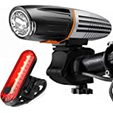 victagen Bike Light, Bicycle Light USB Rechargeable Bike Headlight and Back Light Set,Installs in Seconds Without Tools, Powe