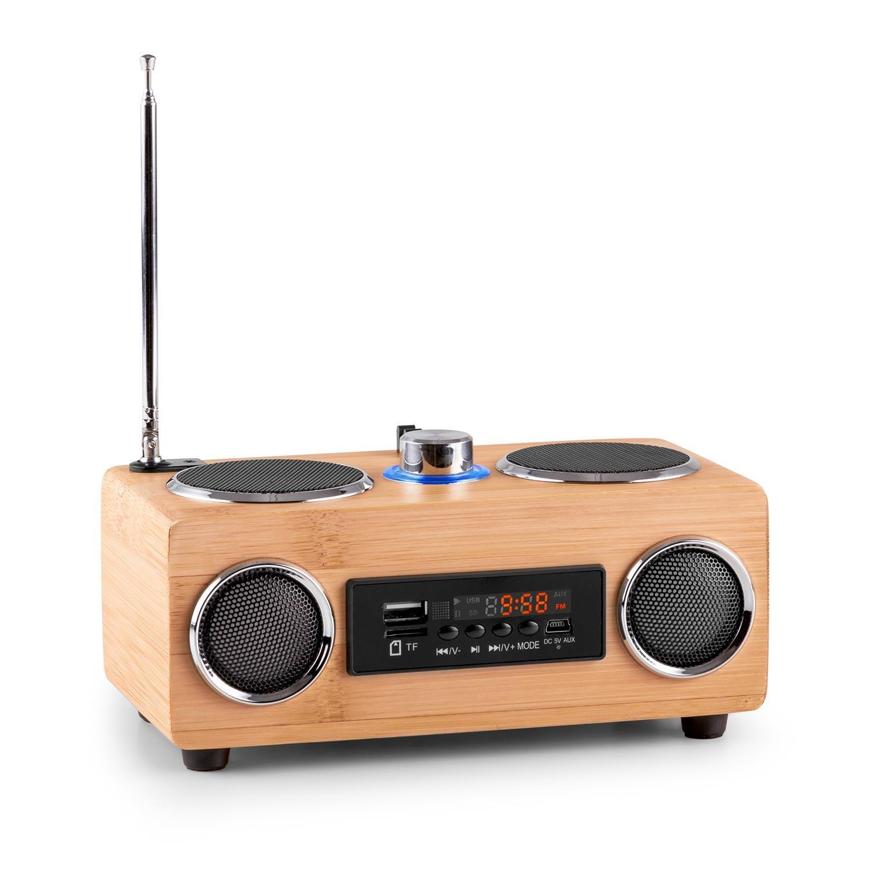 oneConcept Bamboost 3G Radio (USB, microSD, MP3, AUX, Radio FM, 30 emisoras, Altavoz de Banda Ancha, batería extraíble, Pantalla LED, Antena telescópica) - Acabado de bambú