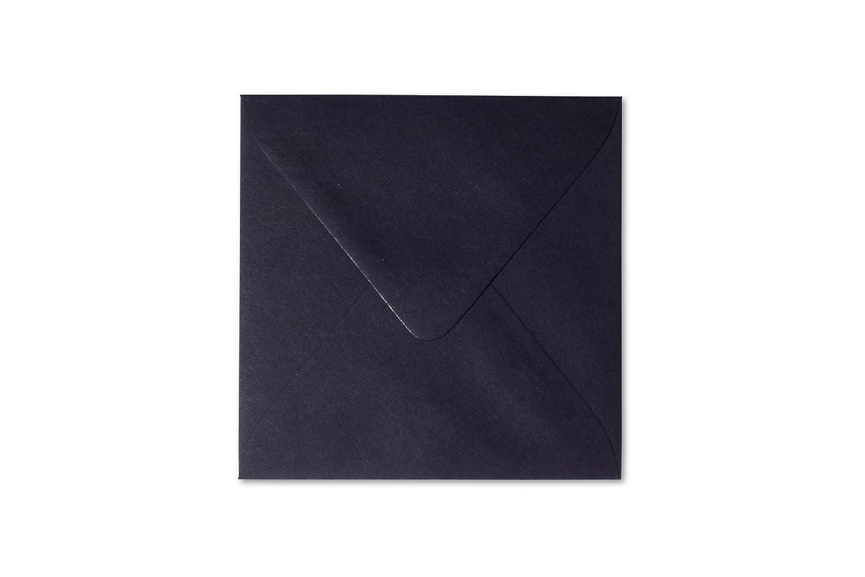 feuchtklebend Grammatur 120 g//m/² 25 Quadratische Briefumschl/äge 15 x 15 cm 150 x 150 mm Schwarz Verschluss
