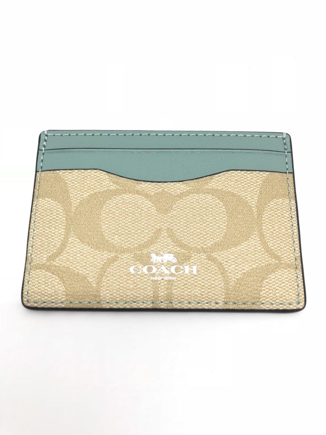 Coach Signature PVC Card Case (SV/Light Khaki/Aquamarine)