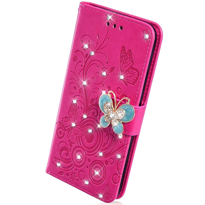 Rosa Rossa Herbests Custodia Huawei P30 Cover Huawei P30 a Libro Flip Case Glitter Diamante Strass Farfalla Goffratura PU Pelle Copertura Magnetico Snap-on Leather Cover