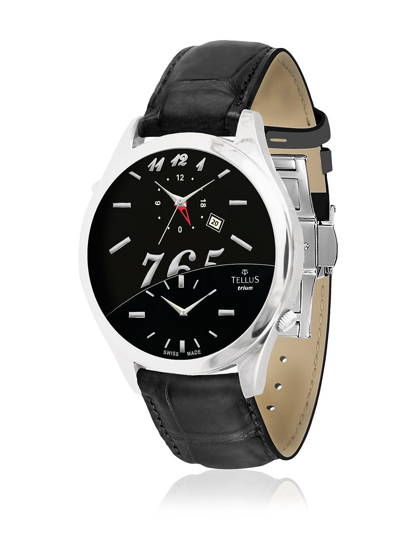 Tellus - Trium - Damen Armbanduhr - Mattschwarz und schwarz perlmutter Ziffernblatt - Armband schwarz aus Alligator -