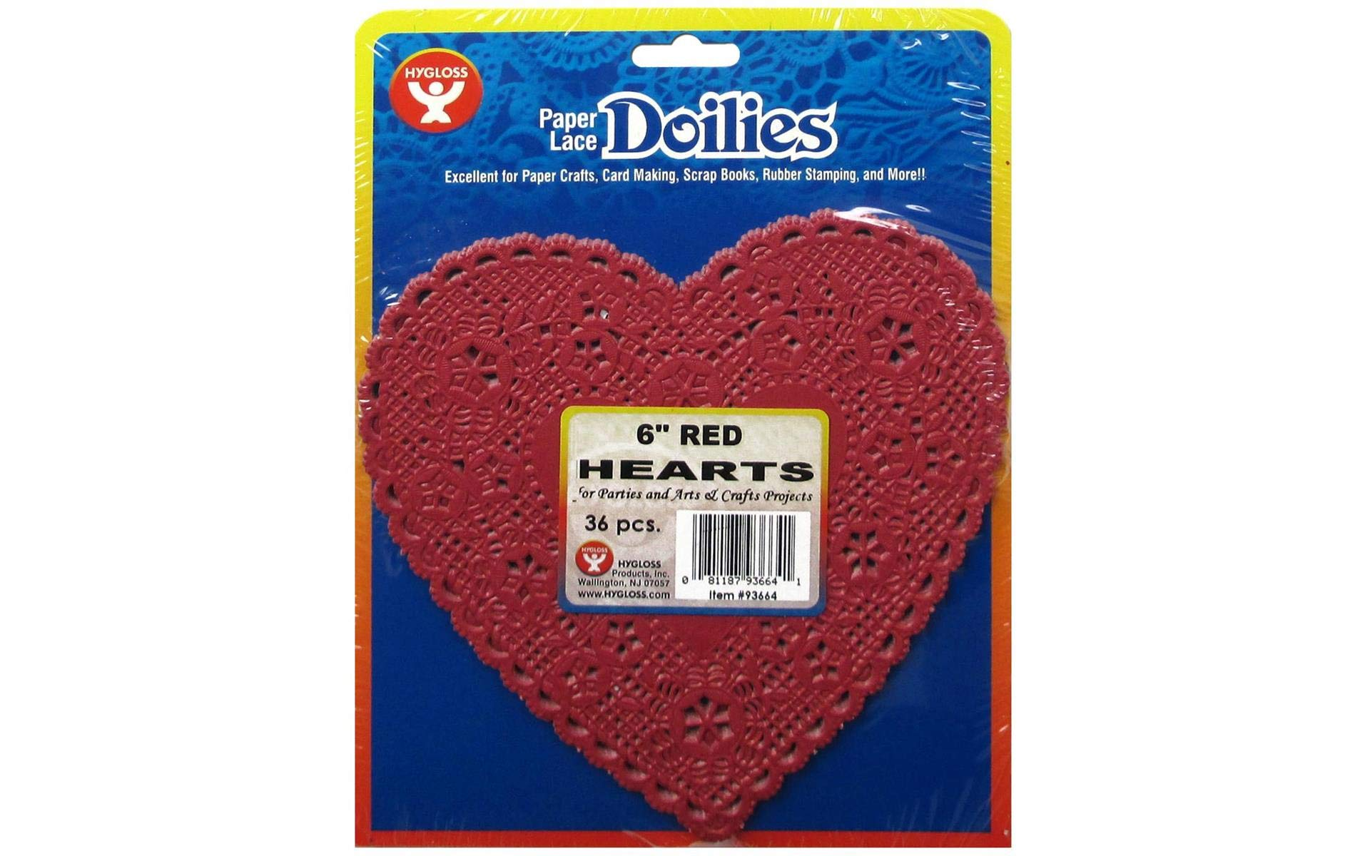 Hygloss Products Heart Paper Doilies – 6 Inch Red Lace Doily for Decorations, Crafts, Parties, 36 Pack