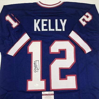 Autographed/Signed Jim Kelly Buffalo Blue Football Jersey JSA COA