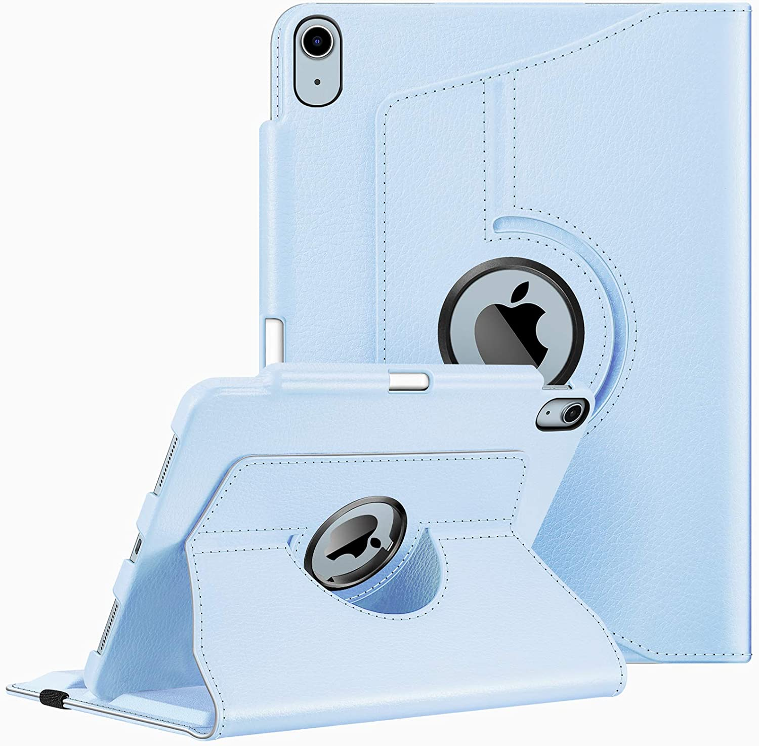 Fintie Case for iPad Air 4 10.9 Inch 2020 with Pencil Holder [Support 2nd Gen Pencil Charging] - 360 Degree Rotating Stand Cover with Auto Sleep/Wake for iPad Air 4th Generation, Sky Blue