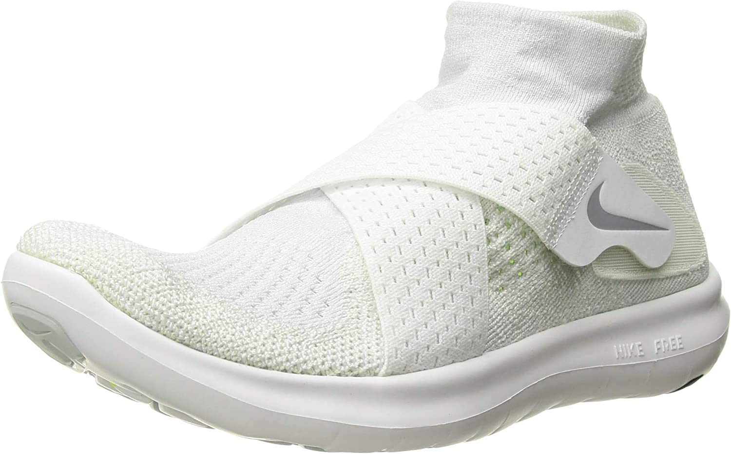 Nike Women s Free RN Motion Flyknit 2017 Running Shoe White Wolf Grey-Pure Platinum-Volt 7.5
