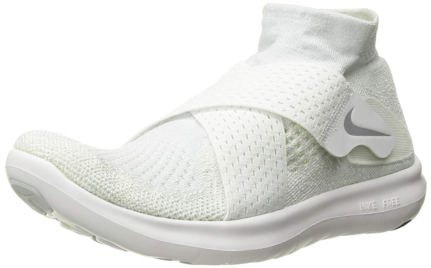 Nike Women s Free RN Motion Flyknit 2017 Running Shoe White Wolf Grey-Pure Platinum-Volt 8.0