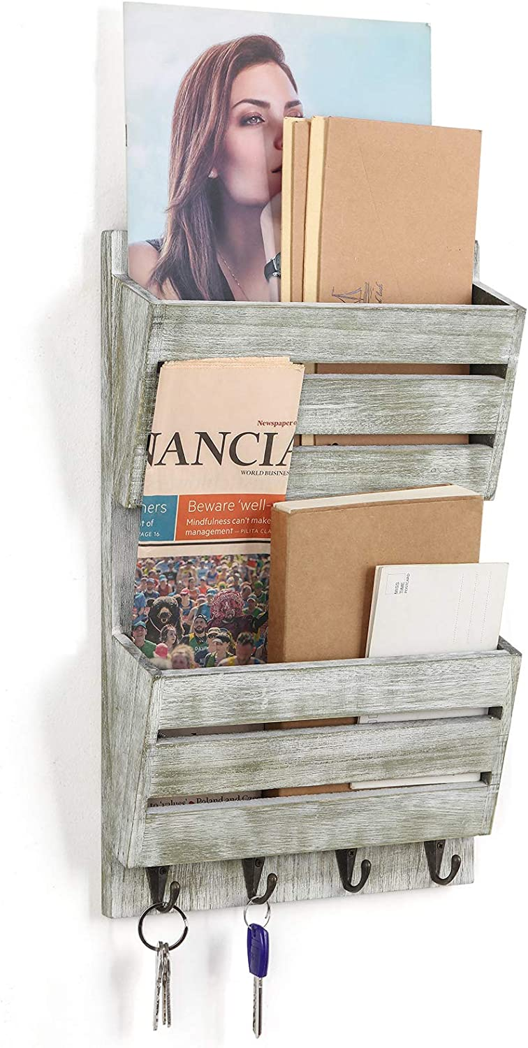 Wall Mounted Mail Holder, 2-Slot Wooden Mail Sorter Organizer with 4 Key Hooks, Letter Newspaper Storage Rustic Home Decor for Entryway