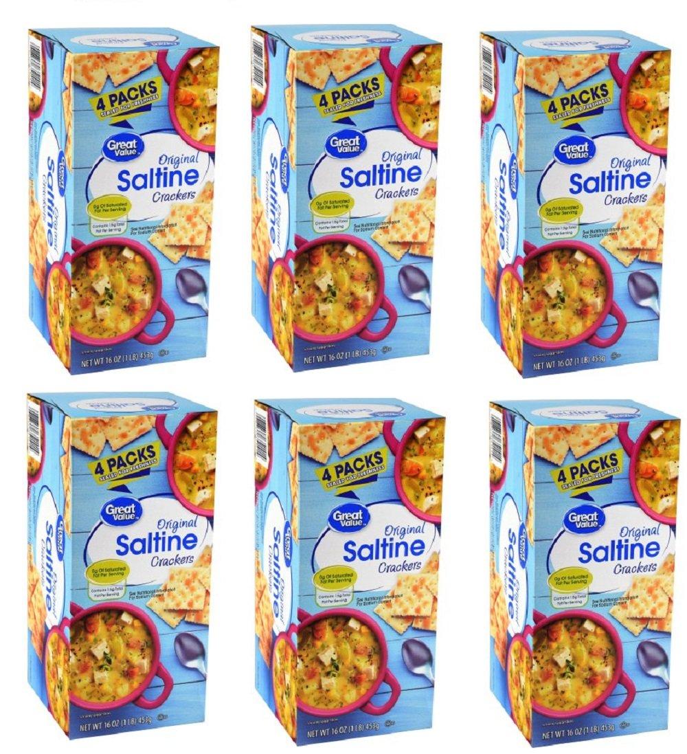 Pack of 6 - Great Value Original Saltine Crackers, 4 Count, 16 oz