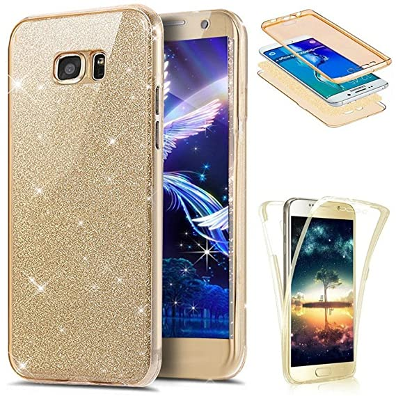 the best attitude b7124 9d1ea Samsung S6 Edge Plus Case LEECOCO 360 Degree All-round Protective Slim Case  Bling Glitter Sparkly Anti Scratch Soft TPU Silicone Case Cover for ...