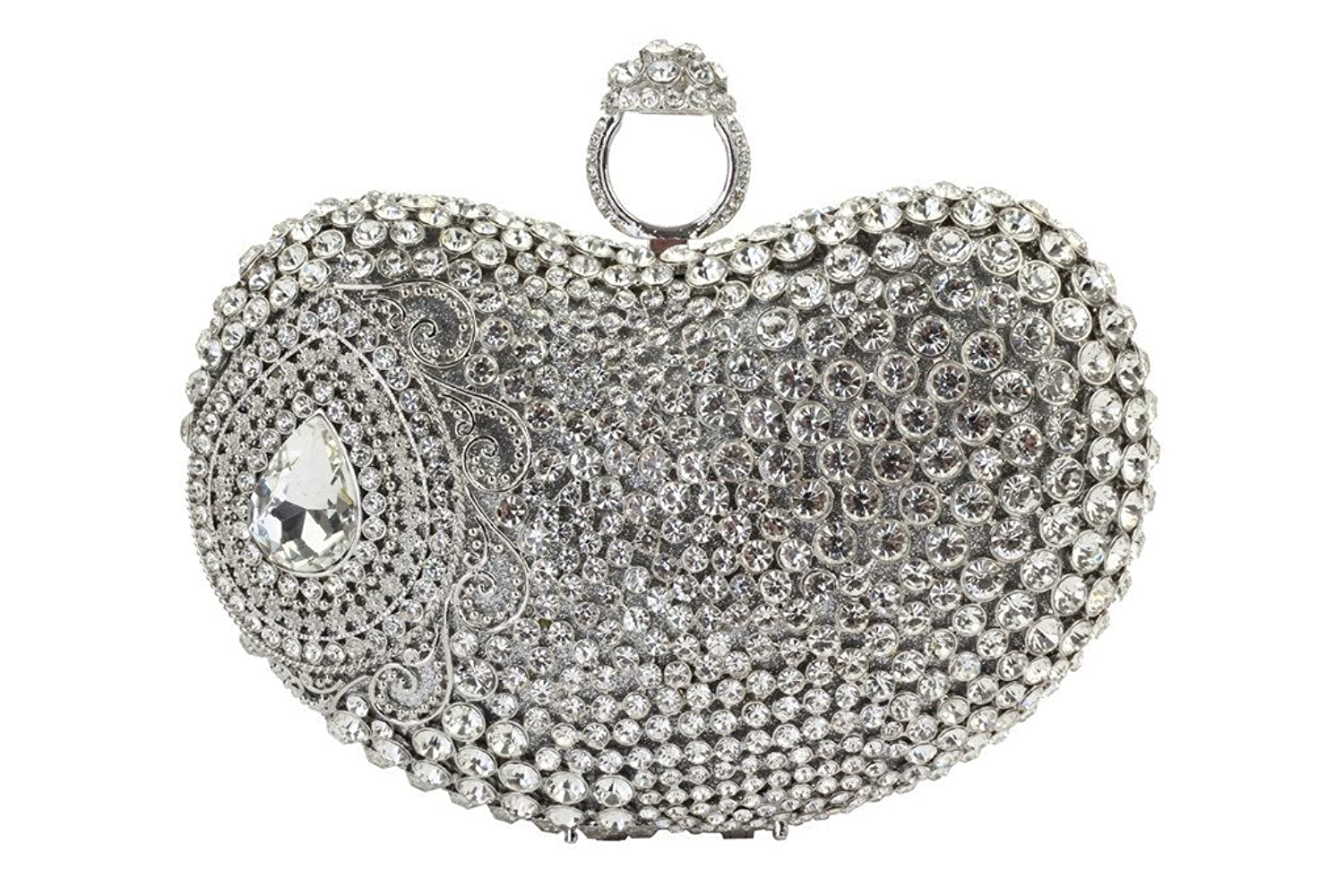 Yilongsheng Women's Heart-shaped Beaded Evening Handbags with Dazzling Crystal Rhinestones