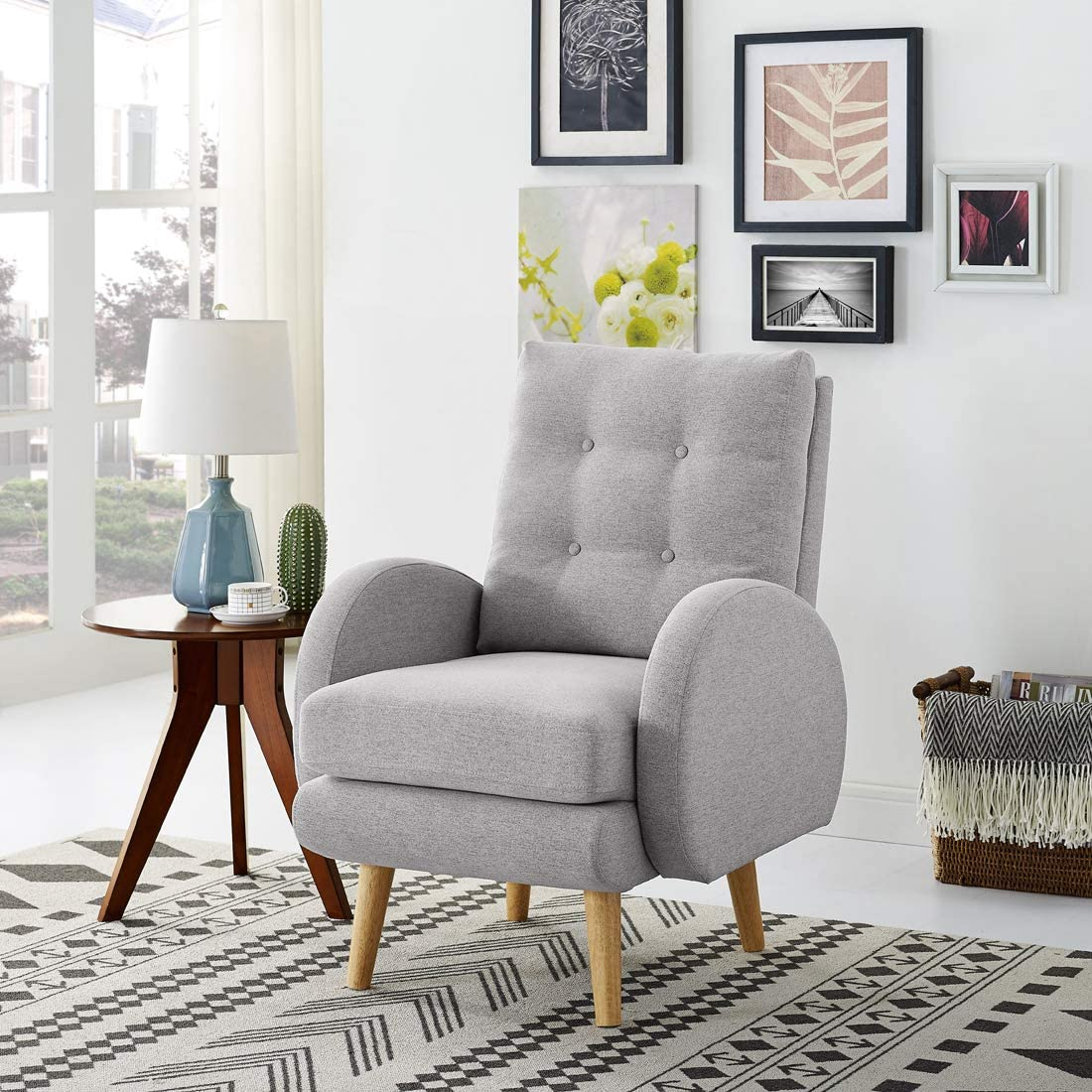 Lohoms Mid-Century Modern Accent Chair Tufted Button Fabric Uphlostered Curved Arm Chair Comfy High Back Chair Single Sofa Light Grey