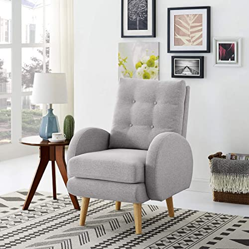 Cheap Lohoms Mid-Century Modern Accent Chair Tufted Button Fabric Uphlostered Curved Arm Chair Comfy High Back Chair Single Sofa Light Grey living room chair for sale