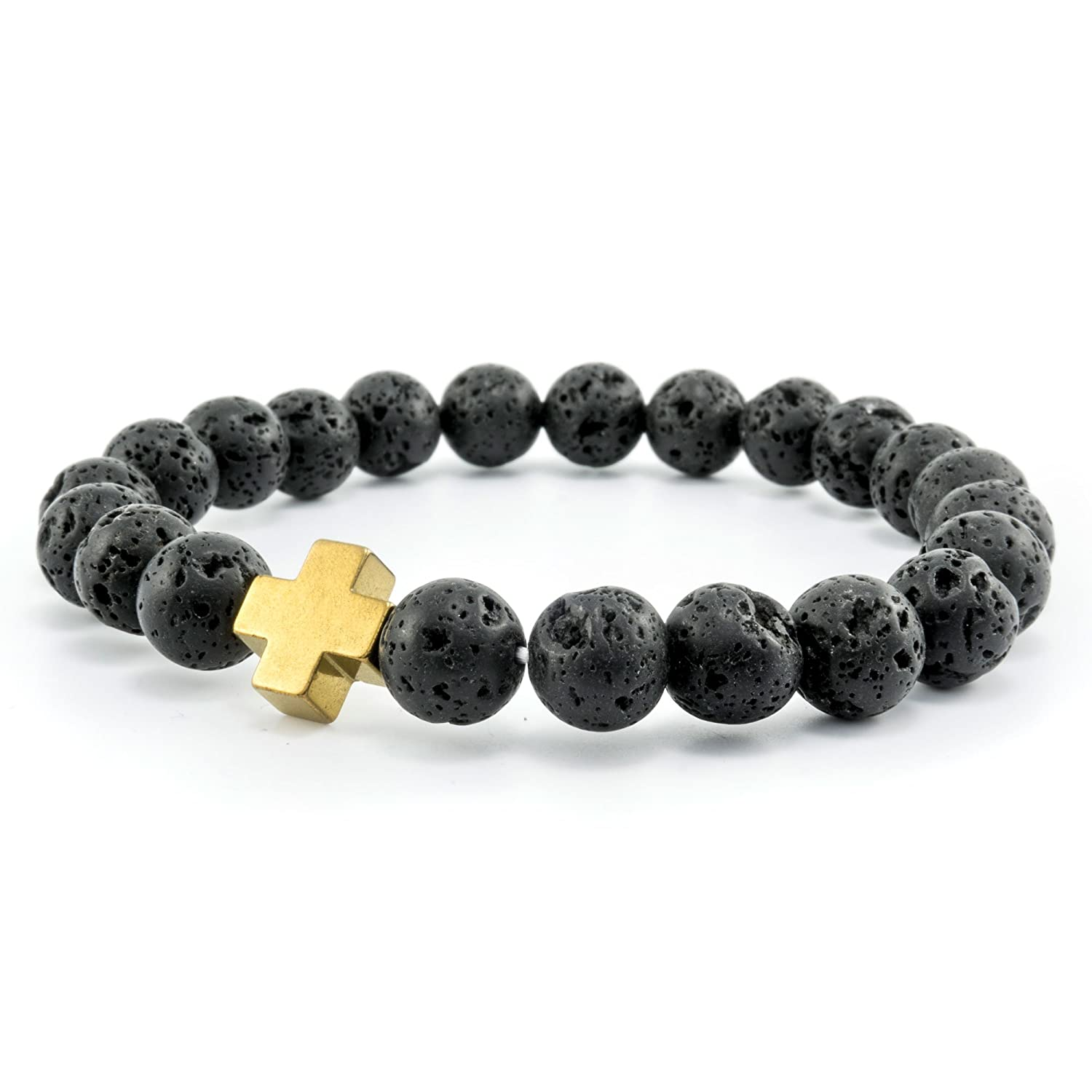 Women's Men's Inspirational Genuine Black Lava Stone Bead Stretch Bracelet with Alloy Gold Color Cross - 7.5 inches - HS-LVCB02-GD Heavensentgifts