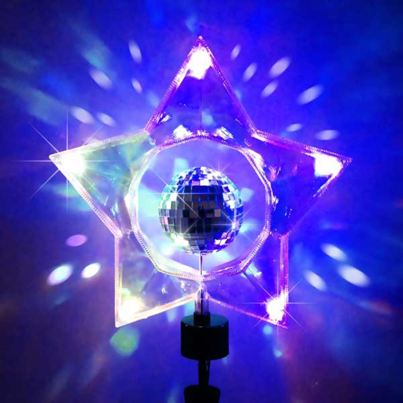 Kurt Adler 14'' Retro Rotating Mirror Disco Ball Clear Star Christmas Tree Topper