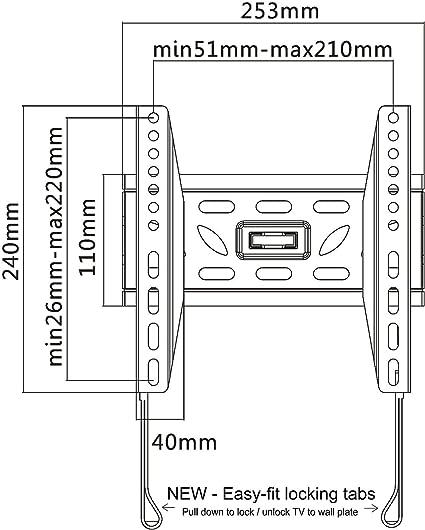 Soporte para televisores, para colgar en la pared, con ajuste delgado y extrafuerte, de la marca Intecbrackets, compatible con pantallas 19 20 22 23 24 26 27 28 29 30 32 34 36 37 39 40: